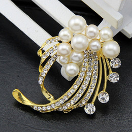 Wholesale China Wholesale High End Jewelry - 2016 new Korean version of the chest, then selling high-end Chinese wild pearl jewelry 18k gold diamond brooch crystal collar pin female