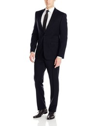 Wholesale Two Piece Men S Pants - Wholesale-New Top Selling custom made suits Handsome groom,black 2 Button .the man wedding dress PROM dresses two piece suit(Jacket+pants)