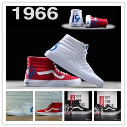Wholesale Mens Hi Tops White - 2017 Hot Sk8-Hi 1966 Limited edition Shoes White Black High Top Canvas Shoe Women And Mens Old Skool Sneakers Skateboarding Shoes Size 36-44