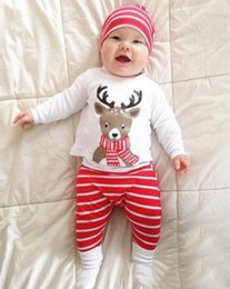 Wholesale Top Hat Pieces - Ins Christmas Baby outfits Scarf Reindeer Top Long sleeve +Red Stripes Pant + hat 3pcs set 100% Cotton Autumn Fall 2017