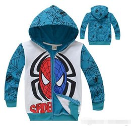 Wholesale Spiderman Sweatshirt - Boys Jacket Kids Avengers Spiderman Hoodie Jacket Blue Cartoon Sweatshirts Spider man Clothes for Kids 6pcs lot RK03177