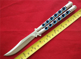 Wholesale Blue Steel Knife - Ben-chmade Balisong Butterfly Knife BM43 Stainess steel frame 440C Bowie Blade Spring latch Blue with nylon sheath collection knife B664J