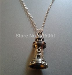 Wholesale Lighthouse Charms - 20PCS Vintage Silver Lighthouse Necklaces Pendants Women Choker Necklace Jewelry For Womens Clothing Accessories Jewelry Gifts DIY Q119