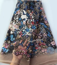Wholesale Quality Net - Lots of sequins 5 yards french net lace Beaded African tulle lace fabric super quality