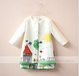 Wholesale Set Girls Autumn Dress Coat - Girl Set Girls Clothes Kids Clothing Sets 2016 Spring Children Outfit House Cartoon Long Sleeve Cardigan + Dress Child Tops Kid Outfit K6590