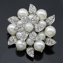 Wholesale Large Brooches Wholesale - Free Shipping 1 Piece Imitation Pearl Rhinestone Crystal Large bridal Brooch With Pins On The Back, Wholesale, Pin Brooch Men & Women Cus