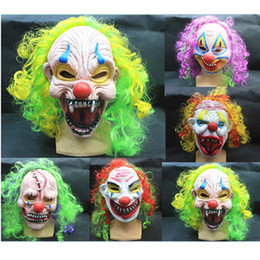 Wholesale October Party - Halloween Scary Party Mask Latex Funny Clown Wry Face October Spirit Festival Emulsion Terror Masquerade Masks Children Adult 5pcs