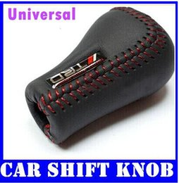 Wholesale Leather Shift Knobs Manual - Manual Gear Universal Fits Black Leather TRD Logo Shift Knob RED Stitch top sale free shipping