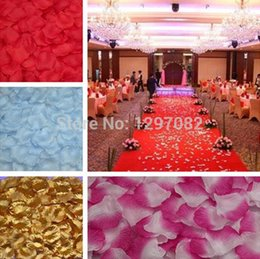 Wholesale Purple Flower Confetti - 1000pcs Silk Rose Flower Petals Leaves Wedding Decorations Party Festival Table Confetti Decor 8 colors
