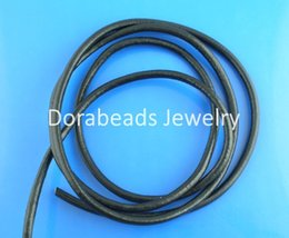 Wholesale 4mm Black Round Cord - Wholesale-hot- Black Round Real Leather Jewelry Cord 4mm 10M length (B03279)