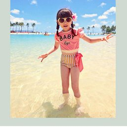 Wholesale Swimsuit Top Cute - 2016 Hot Sell Summer Girls Swimsuit Letter Printed Short Sleeve Tops +Striped Panties 2PC Set Beachwear Princess Soft Cute Suits BH1783
