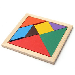 Wholesale Best Wooden Baby Toys - Wholesale-Best Selling Wooden Seven Piece Puzzle Jigsaw Tangram Brain Teasers Baby Toy