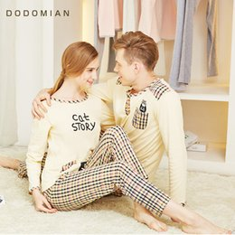 Wholesale Pjs Women - Wholesale- Long Sleeve Spring Home Set 100% Cotton Pijamas O neck Women PJS Solid Simple Style indoor Clothing for Couple Asian size M-XXL