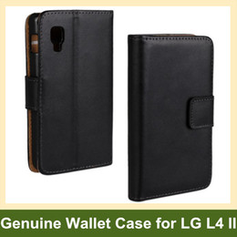 Wholesale Optimus Cover - Wholesale Popular Genuine Leather Walelt Flip Cover Case for LG Optimus L4 II E440 Free Shipping