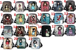 Wholesale Kids Canvas Lunch Bags - Fashion Love Girl Pattern Childrens School Book Bags Mochilas Kids Black Shoulder Travel Tote Message Bag Cheap Cotton Canvas Lunch Handbag