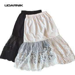 Wholesale Ladies Petticoats - Wholesale- Women Lady Lace Slip Skirt Extender Knee Length A-Line Floral Underskirt Petticoat Fashion New White Black 904-733