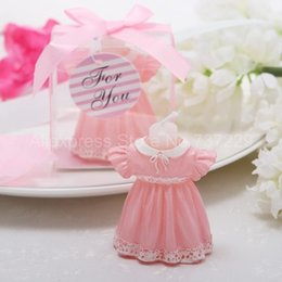Wholesale Wholesales Candels - Wholesale-6 Cute Pink Skirt Candels Favor for Wedding Candy Gift Chocolate Boxes Free Shipping Wholesale