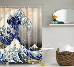 Wholesale Great Curtain - Classic Japanese The Great Wave Off Kanagawa Cheap High Quality Shower Curtain With Sea Wave Pattern Waterproof Bathroom