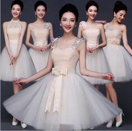 Wholesale Cheap Ribbon Candy - 2016 Bridesmaid Dresses Under 50 Short Chiffon Candy Tutu Sister Group Junior Bridesmaids Dresses Cheap 6 Design Style Lace Evening Dress