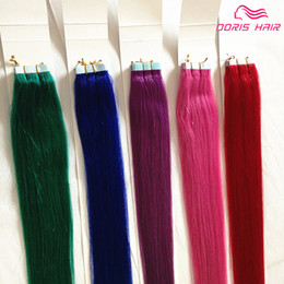 Wholesale Brown Coloured Hair - Mix colours human hair 6pcs Tape in Hair Extensions brazilian indian PINK BLUE BURG PURPLE Remy Tape Hair Extensions Free Shipping DHL