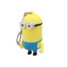 Wholesale Small Led Flashlight Keychain - Cartoon Key Chain Despicable Me 3D Eye Small Minions Figure Keychain Chaveiro Chain LED Night Light Flashlight Torch LED Sound Toys