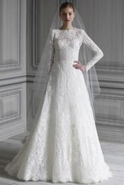 Wholesale Sleeves For Wedding Dresses - Beautiful Lace Wedding Dresses 2015 Long Sleeve Floor Length Inspirations Hot Sale Wedding Gowns For Bride