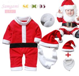 Wholesale Bibs Santa Claus - SamgamiBaby Cute Christmas Santa Claus long sleeve Cotton Rompers + hats + Bib suits in stock Spring Autumn for Baby boys girls