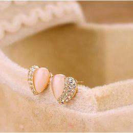 Wholesale Peach Opal - Korean Fashion Trendy jewelry cute peach heart opal earrings female half Free Shipping