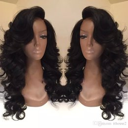 Wholesale 1b Burgundy Color Wigs - Celebrity style Synthetic wigs loose body wave Hair Wig Natural black 1B color with side bangs pelucas black women full wigs