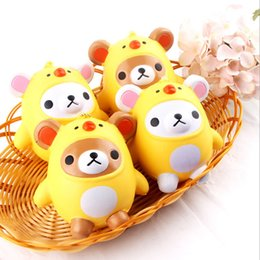 Wholesale Chicken Pendants - 2017 New Squishy Kawaii Bear Chicken Slow Rising Toys Pendant Phone Straps Charms Kid Toys Cute Squishies Phone Charms Handbag Ring