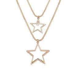 Wholesale Double Star Necklace - Stars Pendants Double Necklaces Gold Plated Long Sweater Chain Necklace For Women Charm Designer 11138