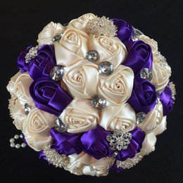 Wholesale Diamond Roses Silk - Elegant Customized Color Royal Blue Ivory Ribbon Diamond Flower Bouquet Bridal Bridesmaid Hands Holder Silk Jewelry Wedding Bouquets