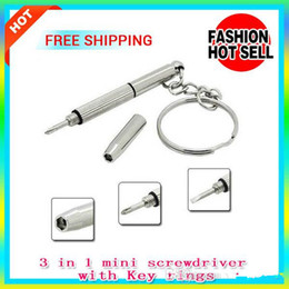 Wholesale multi function camera - 3-in-1 Portable Mini tool Multi-function Screwdriver with key rings for RBA RDA DIY Atomizer Ecigs Glasses Cell Phone Camera Watch