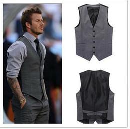 Wholesale Hot Pink Grooms Vest - Custom Made 2015 Mens Wedding Vest Hot Sale Good Design Grey Groom Groomsmen Vest Casual Slim Men's Vest ( Vest+Tie)