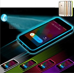 Wholesale Iphone Flash Skin - LED Flash Cell Phone Case For iPhone 6 TPU Gel Soft Calling bright Cell Case Cover Skin 0057CHR-50