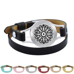 Wholesale Magnetic Oil - Silver Magnetic Snow 25mm Black Genuine Leather Aroma Locket Stainless Steel Bangle Essential Oils Diffuser Locket Leather Bracelet