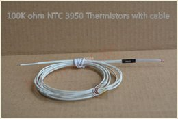 Wholesale 3d Printer Glass - Free shipping 10pcs NTC 3950 1% 100K single-ended glass sealed thermistor temperature sensor with cable for 3D Printer Reprap