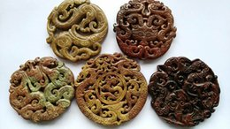 Wholesale Carved Stone Pendant Beads - free ship--70mm(2.8inch) vintage natural jade stone hand carved Double Face animals assortment jewelry focal pendant bead