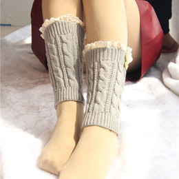 Wholesale Tall Socks For Women - Wholesale-2015 New Fashion Women Girl Knitted Crochet Leg Warmers Cuffs Decor Socks for Short Tall Boot 17*12cm