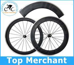Wholesale Carbon Bikes Rims - 2015 hot sale Alloy brake surface wheels FFWD dark decal full carbon fiber road bike wheelset front 60 rear 88mm rim wheel wheelset 700C