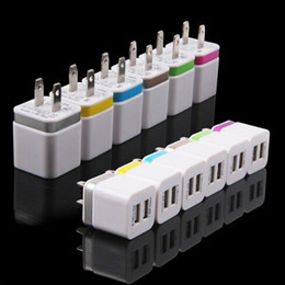 Wholesale Universal Power Adapters Usb - Metal Dual USB wall US plug 2.1A AC Power Adapter Wall Charger Plug 2 port for samsung galaxy note LG tablet