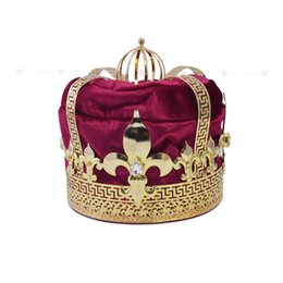 Wholesale Men Fashion Jewel - Man`s Crown Tiara Hat Cap King Queen Cosplay Hairwear Unisex Prince Princess Fashion Jewel Men`s Crown Imperial State Colour 00027