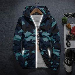 Wholesale Blue Varsity Jacket Men - Men Camouflage Military Jacket Long Sleeve Hooded Reflective Zipper Casual Coat Spring Autumn Windbreaker Varsity Jackets M-5XL NSG0902