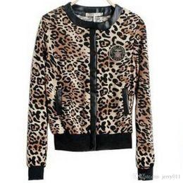 Wholesale Beige Women Short Coats - New Women leopard print Jacket button Long-sleeved Thin Coat lady fashion short cardigan leopard slim jacket Outerwear