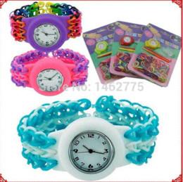 Wholesale Loom Watches Kits - DIY TOY WATCH Rubber loom bands kit ( 1Set=200pcs bands +1pcs electronic watch +2pcs hook+12 s-clips ) Charm Bracelets