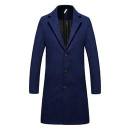 Wholesale Korean Men Winter Wear - Wholesale- 2017 Winter Man Wool Overcoat Men's Wear Korean Self-cultivation Long Windbreaker Worsted Male coat style men trench Hot
