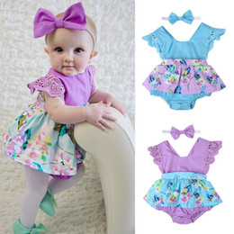Wholesale Newborn Girl Christmas Dresses - Newborn baby girl flower romper dress ruffle jumpsuit headband 2-piece outfit kid clothing toddler girls lovely floral bodysuit sunsuit