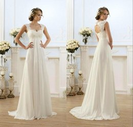 Wholesale Empire Waist Off Shoulder Dress - Romantic Sexy Beach Wedding Dresses Chiffon Floor Length Keyhole Back Empire Waist Wedding Dresses Elegant Ball Gowns With Cap Sleeves Cheap
