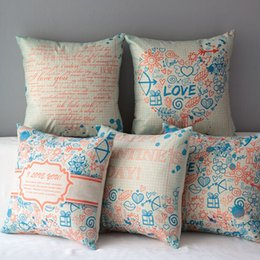 Wholesale Valentine Day Pillows Wholesale - Valentine's Day Pillow Covers Love Peach Cushion Cover Linen Creative Pillow Case Cushion Cover Valentines Gifts European Throw Pillow Cases
