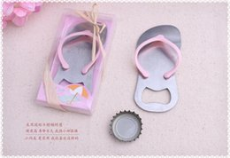 Wholesale Flip Flop Bottle Opener Starfish - 100PCS LOT Beach theme Flip flop wine bottle opener with starfish wedding favor bridal shower guest gift blue pink